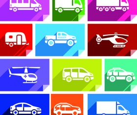 Various transport icons set vector 04