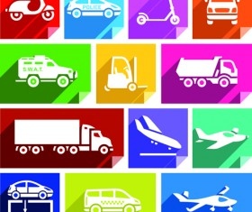 Various transport icons set vector 05