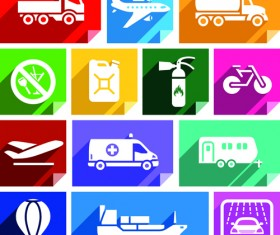 Various transport icons set vector 06