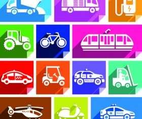 Various transport icons set vector 07