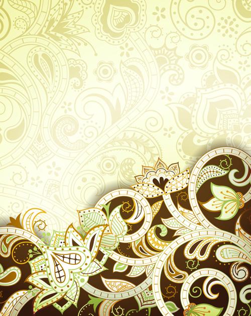 Vintage decorative pattern background graphics vector 03