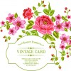 Vintage flowers with frame card vector 01