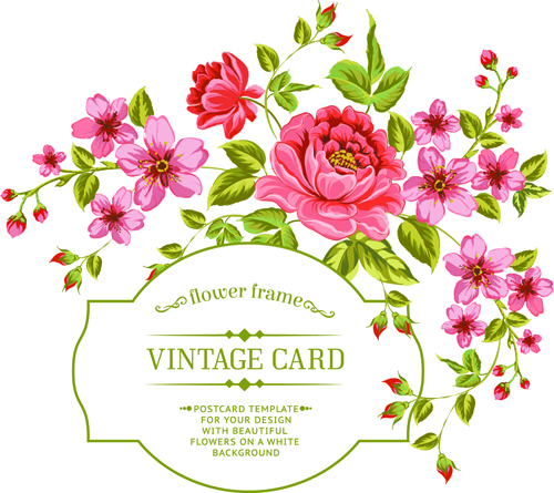 Vintage flowers with frame card vector 01 - Vector Card ...