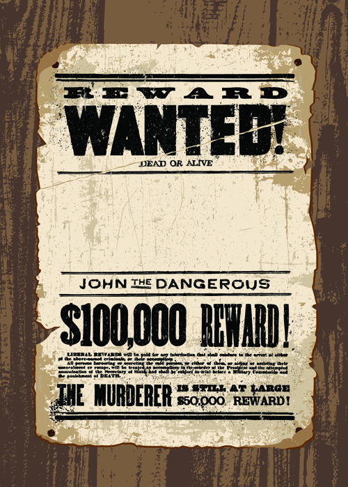 Vintage Style Wanted Vector Templates Material 01  Free Wanted Poster Template Download