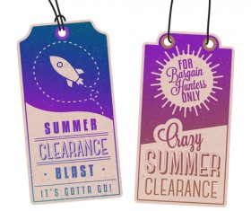 Vintage summer discount sale tags vector material 05