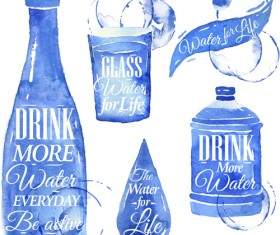 Water design elements watercolor vector