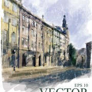 Link toWatercolor drawn city vector graphics 01