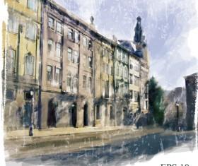 Watercolor drawn city vector graphics 01