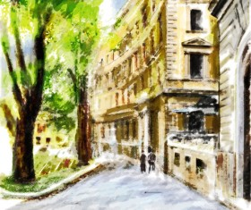 Watercolor drawn city vector graphics 03