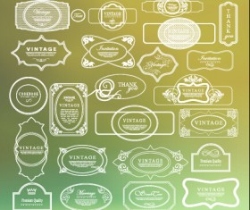 White thin line labels vintage style vector 01