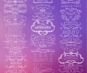 White thin line labels vintage style vector 02
