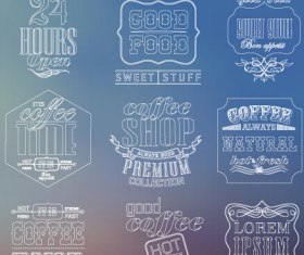 White thin line labels vintage style vector 03
