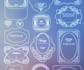 White thin line labels vintage style vector 05