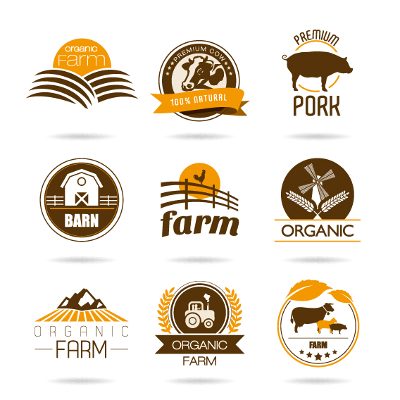 brown style farm labels and logos vector free download