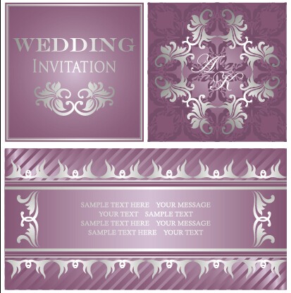 Luxurious Floral Wedding Invitations Vector Design 02 Free