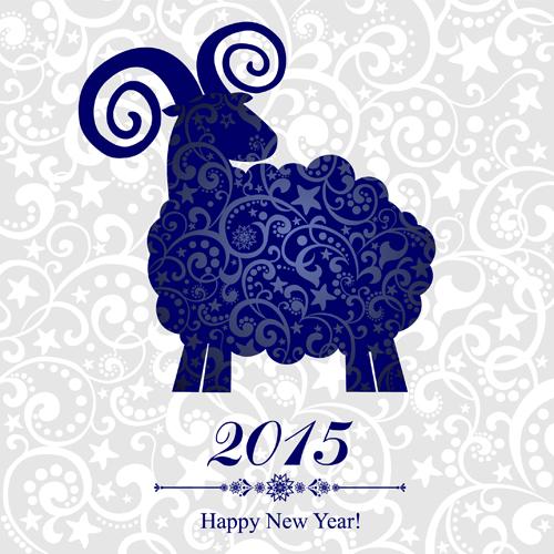 Happy New Year Sheep : 年賀状 図案 2015 : 年賀状