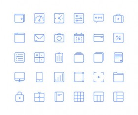 30 Kind blue line icons vector