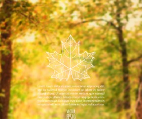 Autumn leaf outline with blurred background vector 01