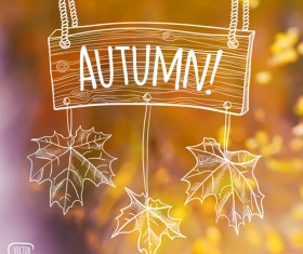 Autumn leaf outline with blurred background vector 02