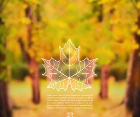 Autumn leaf outline with blurred background vector 04