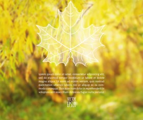 Autumn leaf outline with blurred background vector 05