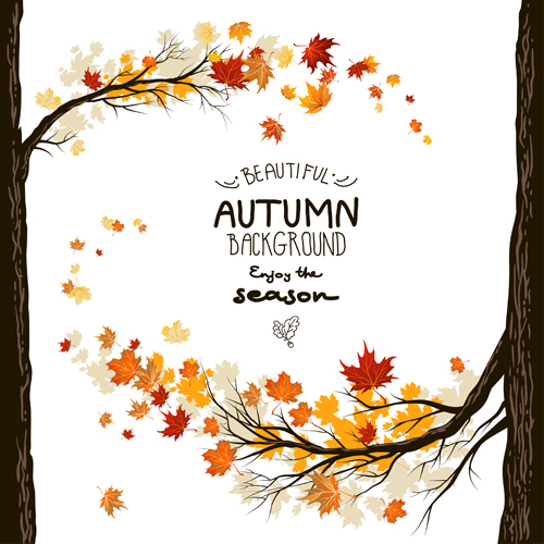 Beautiful autumn leaves background creative vector 02