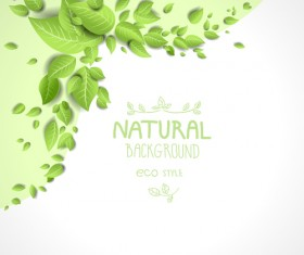 Beautiful green leaves natural background vector 03