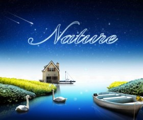 Beautiful nature and stars psd background