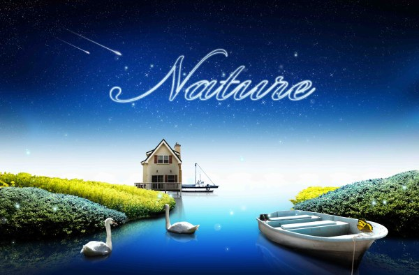 Beautiful nature and stars psd background free download