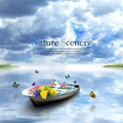 Beautiful nature scenery with butterflies psd background