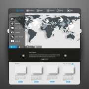 Black and gray style web template vector 03