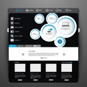 Black and gray style web template vector 04