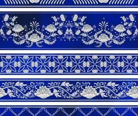 Blue decorative ornaments russian style vector 01