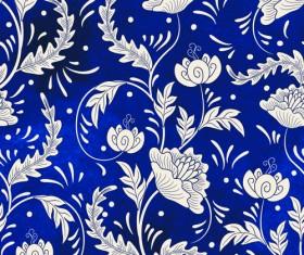 Blue decorative ornaments russian style vector 02