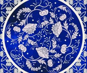 Blue decorative ornaments russian style vector 03