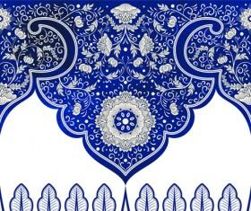 Blue decorative ornaments russian style vector 04