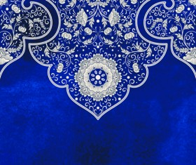 Blue decorative ornaments russian style vector 05