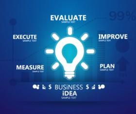 Blue style business idea template vector