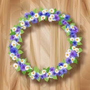 Link toBlue with white flower garland vector