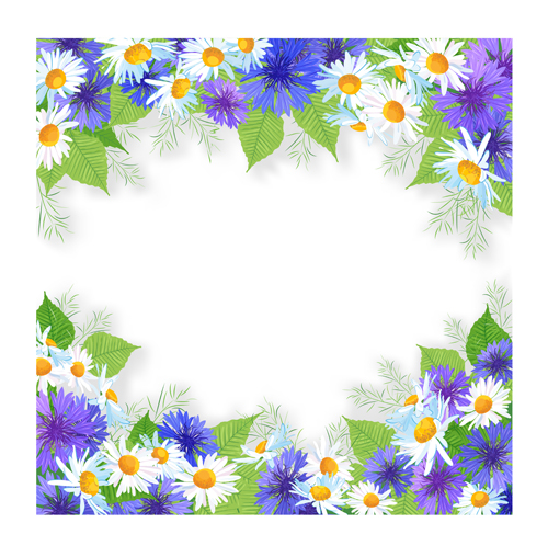 Blue with white flowers frame background vector vector background blue with white flowers frame background vector mightylinksfo Choice Image