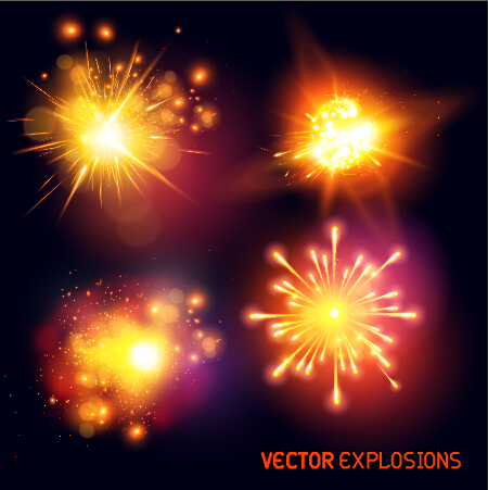 Bright fireworks effects design background vector 01