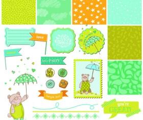 Cartoon baby shower cards design vector 01