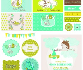 Cartoon baby shower cards design vector 02
