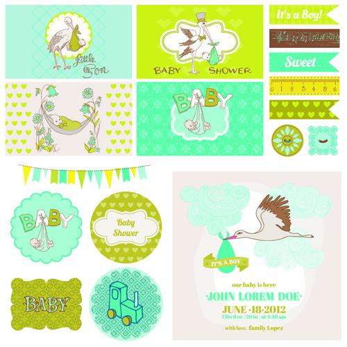 cartoon baby shower cards design vector 02 free download