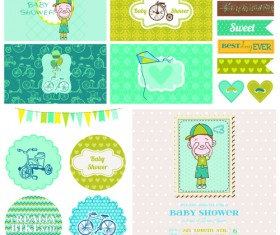 Cartoon baby shower cards design vector 03