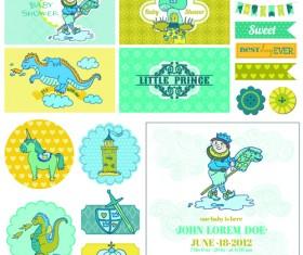 Cartoon baby shower cards design vector 04