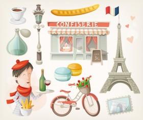 Cartoon travel objects set vector 01
