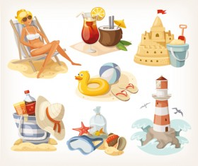 Cartoon travel objects set vector 02