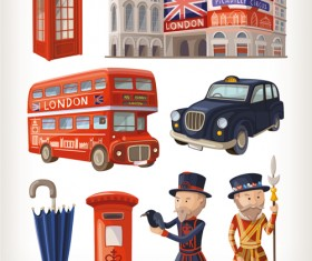 Cartoon travel objects set vector 03