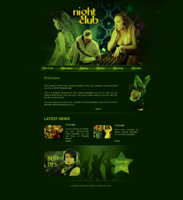 classic dj music website psd template